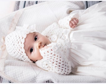 baptism crochet hat and cardigan - hat and cardigan - baptism sweater and cap- white or ivory baptism sweater