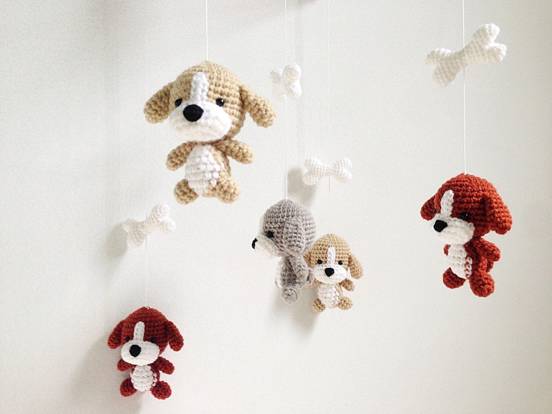 Amigurumi Baby Mobile Pattern : Puppy Crochet Baby Mobile Dog baby mobile Nursery decorDog