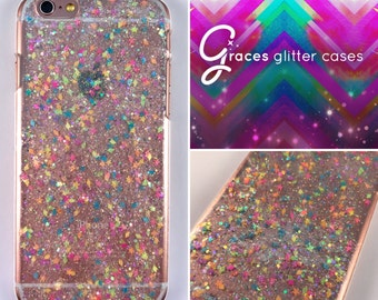 Unicorn Sprinkles hot pink - Glitter Phone Case - iPhone 7 7 plus 6 plus 6s SE 5s 5c 5 4 Samsung S3 S4 S5 S6 S7 Edge - glitter iphone case