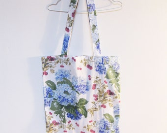 Tote Bag Vintage Floral Hydangrea Fabric Handmade and Sustainable