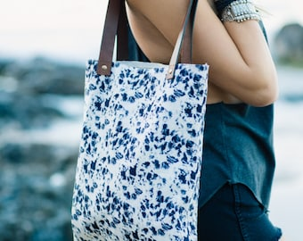 Printed Cotton Canvas Leather Reusable Tote Bag