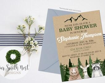 Woodland Baby Shower Invitation DIY PRINTABLE Customizable Digital Prints