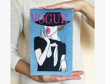 Velvet book clutch VOGUE - book clutch - book purse - 21 x 13 cm - black , blue, beige color (multicolor)