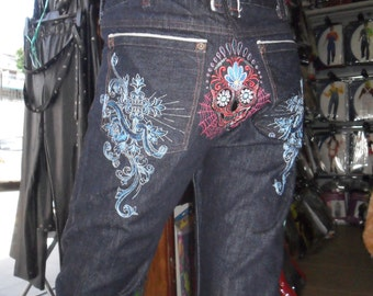 Japaene Selvede Edge denim embroidered jeans with a sugar skull design