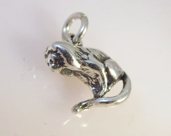 Sterling Silver 3-D Tamarin MONKEY Charm Pendant Howler Capuchin .925 Sterling Silver New an20
