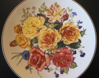 "Vintage Franklin Mint from Majesty of Roses ""Radiant Sunrise"" Plate 1991"
