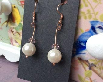 Shell Pearl & Pink Swarovski Crystal Earrings