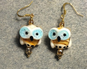 Amber and turquoise lampwork owl bead earrings adorned with amber Czech glass beads.