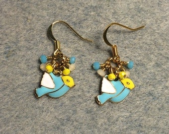 Turquoise, white and yellow enamel bird charm earrings adorned with tiny dangling turquoise, white and yellow Chinese crystal beads.