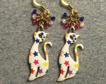 White star covered enamel Siamese cat charm earrings adorned with tiny dangling white, hot pink, and blue Chinese crystal beads.