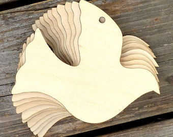 10x Wooden Simple Dove Flying Plain Craft Shapes 3mm Plywood Peace an Love Bird