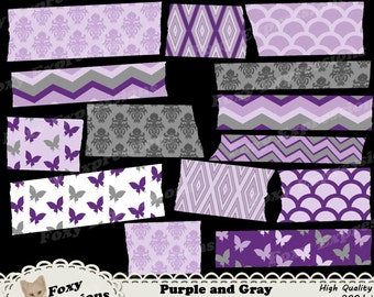 Purple and Gray Butterfly Washi Tape comes in chevron, butterfly, damask, scales, and diamond patterns. Shades of gray, purple and white.