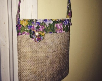 Recycled Burlap Floral Print Crossbody Upcycled Repurposed Handbag