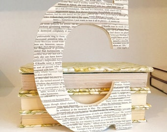Book lover gift, Gift for Book Lover, Book Letter, Letter C, Book Page Letter, Book Page Art, Decorative Wood Letter, Personalized Gift