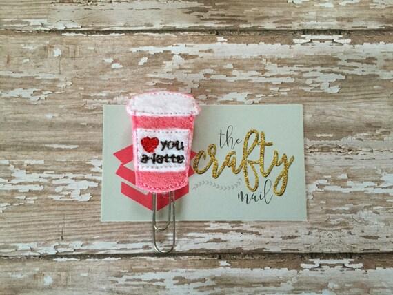 Love You A Latte Pink Glitter Paper Clip. Coffee planner clip. Latte planner clip