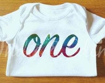 Rainbow Baby One 1st Birthday Vest sparkly Baby Grow Babygrow Cake Smash Photo Prop