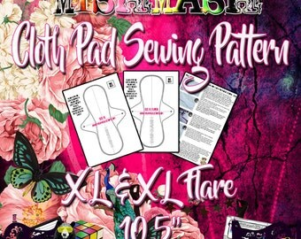 """Mishmash Cloth Pad Sewing Pattern and tutorial PDF for size XL and XL flare 10.5"""" Instant Digital Download"""