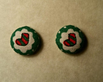 Christmas Stocking fabric button earrings