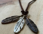 Feather charm necklace / Feather jewelry / charm necklace / long necklaces / long feather necklace / boho necklace / hippie / gypsy