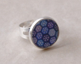 Snowflake ring Snowflake Jewelry Winter Jewelry Winter Blue ring Silver Snowflake Adjustable Winter ring Gift Ideas For Nature lovers