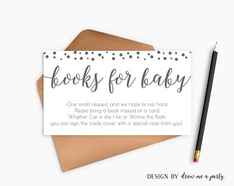 Grey Baby Shower , Book Request , Grey Bring a Book Instead Of a Card , Grey Polka Dots Baby Shower , Printable , Instant Download