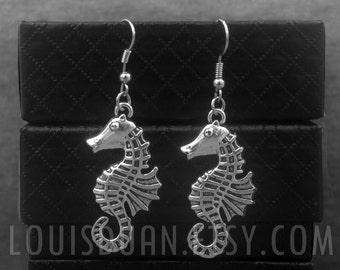 Silver Sea Horse Earrings -Dangle Earrings -Charm Earrings -Marine Animal Earrings