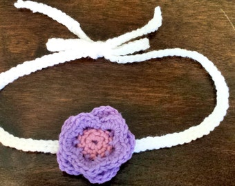 Crochet flower headband, newborn to adult sizes