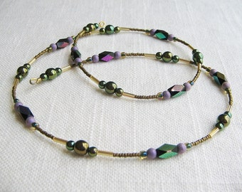 Convertible necklace to bracelet, Beaded Necklace, Beaded Bracelet, boho style convertible jewelry, glass bead necklace, seed bead necklace