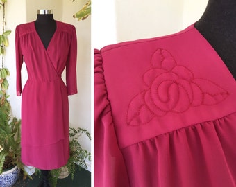 80s does 40s wrap dress embroidered detail pink red maroon long sleeve v neck vintage asymmetrical hem small s