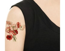Temporary Tattoo - 3 Types of Vintage Florals - Various Sizes