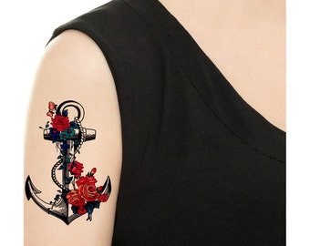 Temporary Tattoo - Flower Anchor - Various Patterns and Sizes