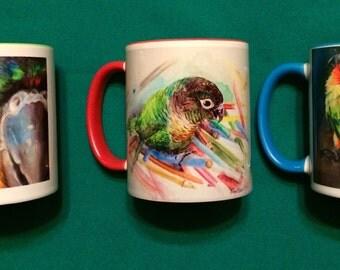 Crazy about conures - 11 oz. Mugs. Featuring original artwork.