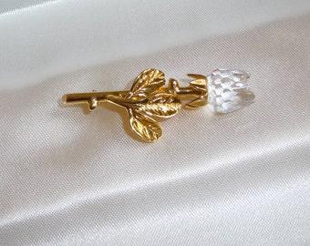 A Very Pretty Swarovski Crystal Memories Mini Rose Bud Brooch / Pin