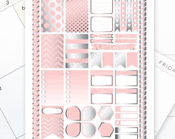 Lite Pink & Silver Printable Planner Stickers for the Classic MAMBI Happy Planner