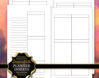 Planner Printable Insert Refill Blank Undated No Days WO4P Personal Size Filofax KikkiK Erin Condren Size Full Boxes & Half Boxes (00231)