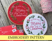 """We Wish You A Merry Christmas // Hand Illustration & Calligraphy// 8"""" Embroidery Hoopart PDF Pattern"""