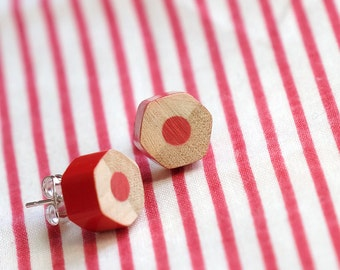 red stud earrings - colored pencil earrings - novelty teacher gift - lupidupi jewelry - great christmas gift