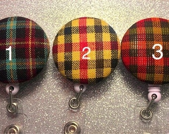 Plaid Retractable Badge Holder.