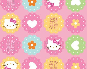 half yard (105cm x 45cm) cotton fabric - Hello Kitty Hearts & Flowers Allover