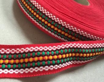 Vintage 70s Gibbon: red / green / yellow 3 cm x 1 m / 1 yard geometric