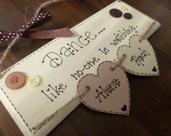 Hanging Heartstrings Plaque with 2 Hearts, Handmade Item, Gift for Mum, sister, friend. Special occasion, wedding
