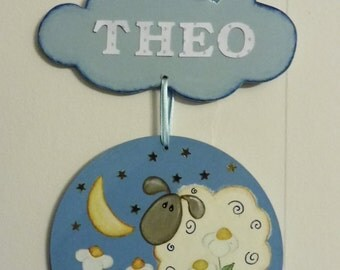 """door plate """" sheep cloud"""" to personalize with a name of your choice - blue"""