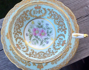 Mint: Highly Collectable Pale Blue Paragon 1953 Coronation Queen Elizabeth Teacup and Saucer