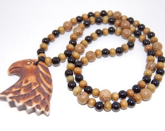 Eagle Necklace, Wood Beads Necklace 22 inches ,Man ,Mens, Eagle Necklace, Healthy,Healing,Relieve , Necklace, Spiritual, Prayer, Good Luck