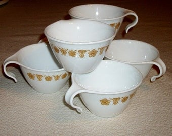Vintage Set of 6 Corning Corelle Coffee Cups, Butterfly Gold