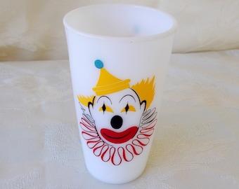 Vintage Hazel Atlas Milk Glass Tumbler With Clown