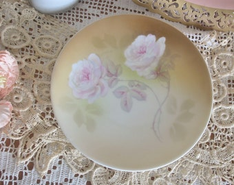 German Porcelain Hand Painted Pink Roses Decorative Plate, Cottage Chic