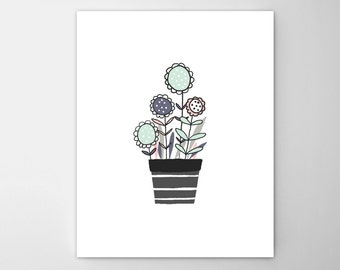 Potted plant flowers-cat illustration-Nursery art set-Nursery art collection-cat nursery art prints-modern cat for kids wall art