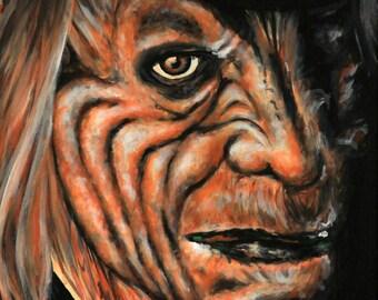 "12x24"" Leprechaun scary horror canvas painting"