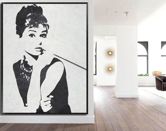 Large oil painting-Original Modern abstract painting-Portrait of Audrey Hepburn